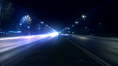 Timelapse night traffic on boulevard. - stock footage