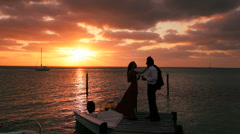 Couple Romantic Sunset Toast Stock Footage