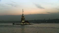 Maiden's Tower in Bosphorus. Stock Footage