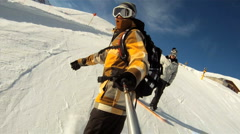 Snowboarding downhill Stock Footage