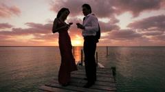 Elegant Couple Sunset Paradise - stock footage
