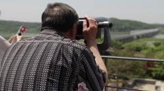 DMZ Panmunjon North Korean border tourist at sight seeing spot Stock Footage