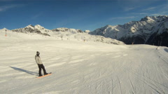 Snowboarding downhill - stock footage