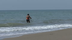 Italy Fisherman standing in the Ionian Sea  Stock Footage