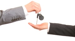 Giving car  keys - stock footage