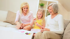 Cute Little Blonde Girl Drawing for Mom & Grandma Stock Footage
