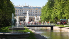 Royal Petrodvorets, footbridge and fountains - stock footage