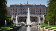 Stock Video Footage of Royal Petrodvorets with fountains in front it