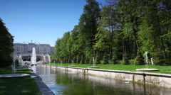 Channel with fountains pouring from his sides and other top in front Royal - stock footage