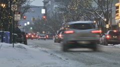 Winter city traffic downtown Stock Footage