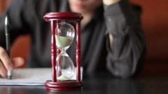 young man meets a contract. Shot with slider shot. - stock footage