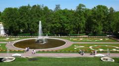 Fountain Bowl at Royal Petrodvorets, Saint Petersburg Stock Footage