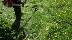 Worker mows grass manual lawnmower Stock Footage