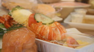 Seafood on a show-window Stock Footage