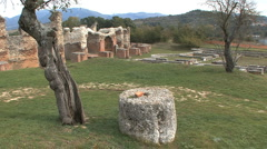 Amiternum Roman ruins in Italy with broken column Stock Footage