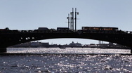 Stock Video Footage of Palace Bridge and Neva River at St. Petersburg