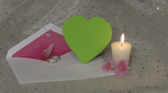 Invitation Rings Candle Heart Green Chroma - stock footage