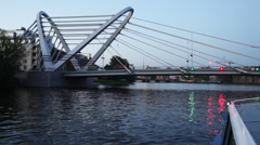 Lazarevsky bridge is new cable-stayed axle across Malaya Nevka Stock Footage