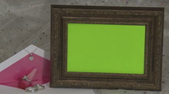 invitation w wood frame green chroma - stock footage