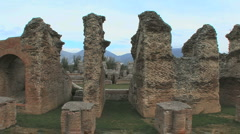 Dramatic view of Amiternum Roman ruins in Italy Stock Footage