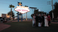 Wedding night Las Vegas sign HD 9230 Stock Footage