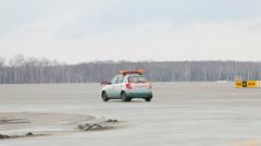 Car on runway  Stock Footage