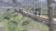 DMZ Panmunjon North Korean border observation towers through barber fences Stock Footage