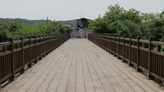 DMZ Panmunjon North Korean border large view bridge and ribbons attached Stock Footage