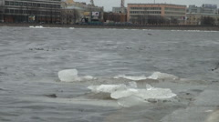 Ice floe floats in water Stock Footage