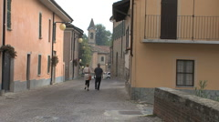 Italy Barbaresco street with people Stock Footage