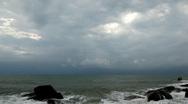 Bad Weather, Storm Coming, Ko Samui, Thailand, Granitic  Rocks, Big Waves Stock Footage