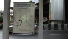 Street board of BTS sky train route map in downtown Bangkok Stock Footage