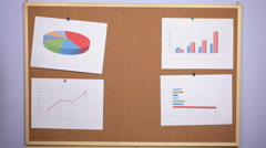 HD dolly: a person leaves a sheet of paper on the pinboard  - stock footage