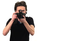 Photographer with camera, isolated on white background Stock Footage