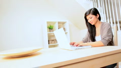 Asian Girl at Home With Laptop Stock Footage