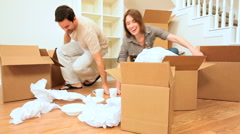 Young Couple Tired From Home Moving - stock footage