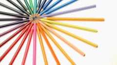 Stock Video Footage of Several color pencils rotating