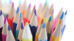 Top of color pencils turning in a pencil holder Stock Footage