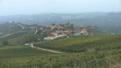 Barolo town and vineyards zoom in Stock Footage