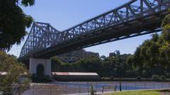 Brisbane Story Bridge on river Stock Footage