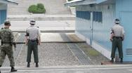 DMZ Panmunjon North Korean border United Nation Soldiers Stock Footage