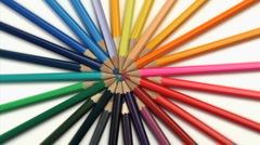 Stock Video Footage of Color pencils joined at the top turning