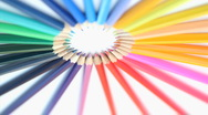 Stock Video Footage of Color pencils forming a circle while rotating