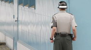 DMZ Panmunjon North Korean border United Nation Soldier shows anger Stock Footage