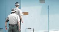 DMZ Panmunjon North Korean border United Nation Soldier Stock Footage