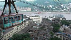 China, Chongqing, cable car, cityscape, Yangtze river, transportation Stock Footage