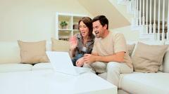 Caucasian Couple Using Internet Webchat Stock Footage