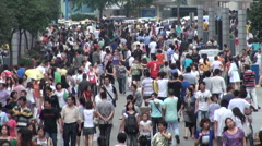 Shopping mall, busy, crowded, people, economy, China, city, urban, Chengdu - stock footage