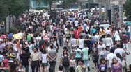 Stock Video Footage of Shopping mall, busy, crowded, people, economy, China, city, urban, Chengdu
