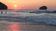 Portreath sunset waves Stock Footage